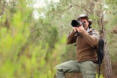 Fotógrafo na natureza imagens de stock