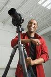 Fotógrafo no estúdio. Imagem de Stock