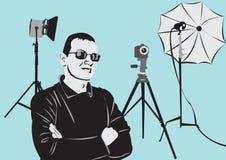 Fotógrafo no estúdio da foto ilustração stock