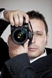 Fotógrafo no terno de negócio Fotografia de Stock Royalty Free