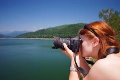 Fotógrafo no trabalho Fotografia de Stock Royalty Free