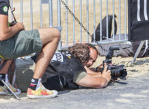 Fotógrafo no trabalho - Tour de France Imagens de Stock Royalty Free