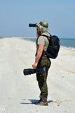 Fotógrafo profesional al aire libre Imagenes de archivo