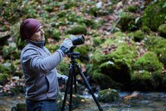 Fotógrafo profissional da natureza Foto de Stock