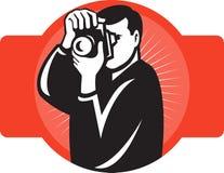 Fotógrafo que apunta el frente de la cámara del slr stock de ilustración