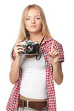 Fotógrafo que pide la atención Foto de archivo