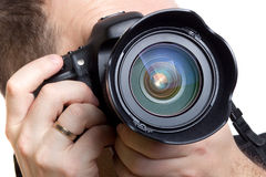 Fotógrafo que toma cuadros con las cámaras digitales Imágenes de archivo libres de regalías