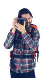 Fotógrafo que toma o retrato foto de stock