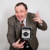 Fotógrafo retro divertido Foto de archivo