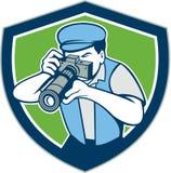Fotógrafo Shooting Camera Shield retro stock de ilustración