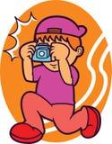 Fotógrafo Taking Picture con el ejemplo de la historieta de la cámara Imágenes de archivo libres de regalías