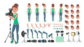 Fotógrafo Woman Vector Tomar cuadros Juego de caracteres femenino animado Aislado en el fondo blanco Accesorios, actitudes, cara libre illustration