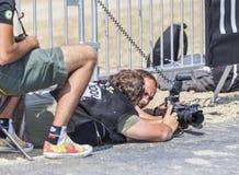 Fotógrafos en el trabajo - Tour de France Imágenes de archivo libres de regalías