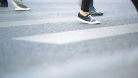 Fotövergångsställe Folket korsar vägen Fot som går på trottoaren stock video