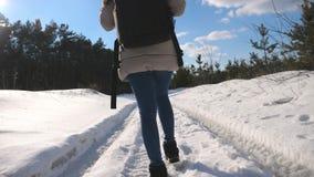 Fot av den kvinnliga turisten som går på snö Kvinna med ryggsäcken som går på skogslingan under vinter oigenkännlig flicka arkivfilmer