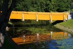 Fot-bana bro och dess reflexion i vatten Fotografering för Bildbyråer
