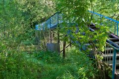 Fot- bro för pittoreska gräsplanblått över vattnet på sjön Arkivfoto