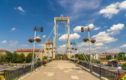 Fot- bro över den Nemunas floden i Kaunas Arkivfoton