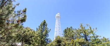 150 fot det sol- tornet överst av Mt Wilson (som byggs i 1910) används i första hand för att anteckna det magnetiskt fältfördelni arkivbild
