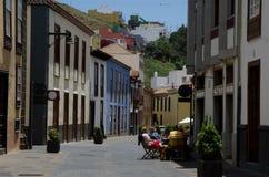 Fot- gata av staden av San Cristobal de La Laguna fotografering för bildbyråer