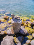 Fot gjord formsten på flodstranden Royaltyfri Fotografi