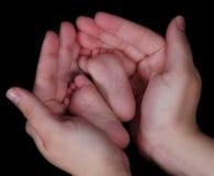fot händer som rymmer mödrar nyfödda Fotografering för Bildbyråer
