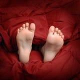 Fot i säng med rött vila för filt royaltyfri foto
