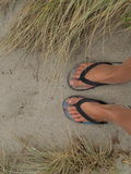 Fot i sanden på stranden i Nya Zeeland Royaltyfria Bilder
