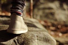Fot i skor på en skogbana fotvandra Fotografering för Bildbyråer