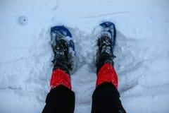 Fot i snöskor på snö Royaltyfria Foton