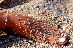 Fot i stenar för en od för sand fulla små Arkivbild