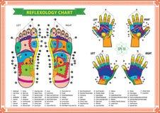 Fot- och handreflexologydiagram Royaltyfri Bild
