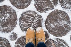 Fot och skor Selfie bild Vinter arkivfoton