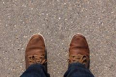 Fot på asfalt Royaltyfri Foto