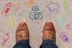 Fot på asfalt Fotografering för Bildbyråer