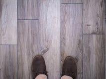 Fot på trä för faux för golvtegelplattor Fotografering för Bildbyråer