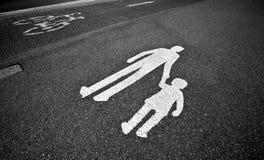 fot- sid-tecken för trottoar Arkivbilder