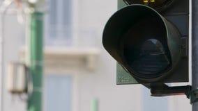 Fot- trafikljus med klartecken på lager videofilmer