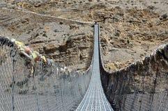 Fot- upphängningbro över Kali Gandaki River nepal Royaltyfria Foton
