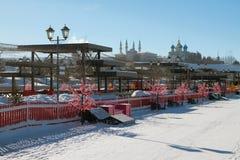 Fot- zon på den Kremlevskaya invallningen kazan russia Fotografering för Bildbyråer