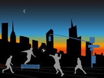 Fotball city night. Play football in the streets of the city Stock Photography