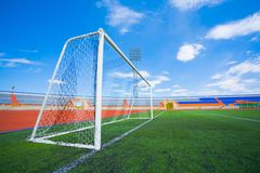 Fotball soccer stadium on blue sky Royalty Free Stock Photos