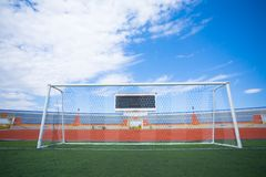 Fotball soccer stadium on blue sky Royalty Free Stock Image