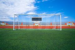 Fotball soccer stadium on blue sky Stock Photos