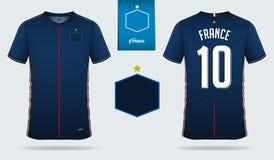 Fotbollärmlös tröja eller design för fotbollsatsmall för Frankrike medborgarefotbollslag Likformig för framdel- och baksidasiktsf Royaltyfria Foton