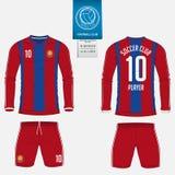 Fotbollärmlös tröja eller fotbollsatsmall för fotbollklubba Fotbollskjortaåtlöje upp Likformig för framdel- och baksidasiktsfotbo royaltyfri illustrationer