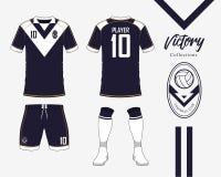 Fotbollärmlös tröja eller fotbollsatssamling i segerbegrepp Fotbollskjortaåtlöje upp Likformig för framdel- och baksidasiktsfotbo stock illustrationer