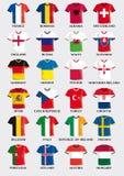 Fotbollärmlös tröja knäppas med flaggadesign av europeiska fotbolllag för mästerskap royaltyfri illustrationer