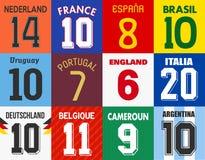 Fotbollärmlös tröjanummer royaltyfri illustrationer