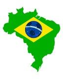 Fotbollöversikt och flagga av Brasilien vektor illustrationer